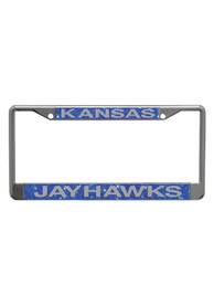 Kansas Jayhawks Team Name Blue Glitter License Frame