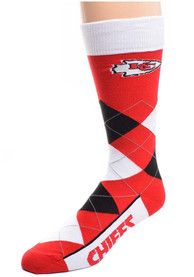 Kansas City Chiefs Calf Logo Argyle Socks - Red