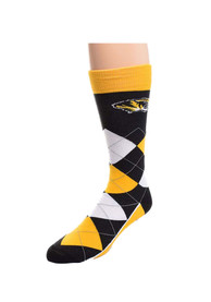 Missouri Tigers Calf Logo Argyle Socks - Yellow