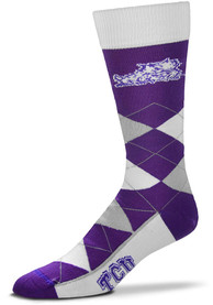 TCU Horned Frogs Calf Logo Argyle Socks - Purple