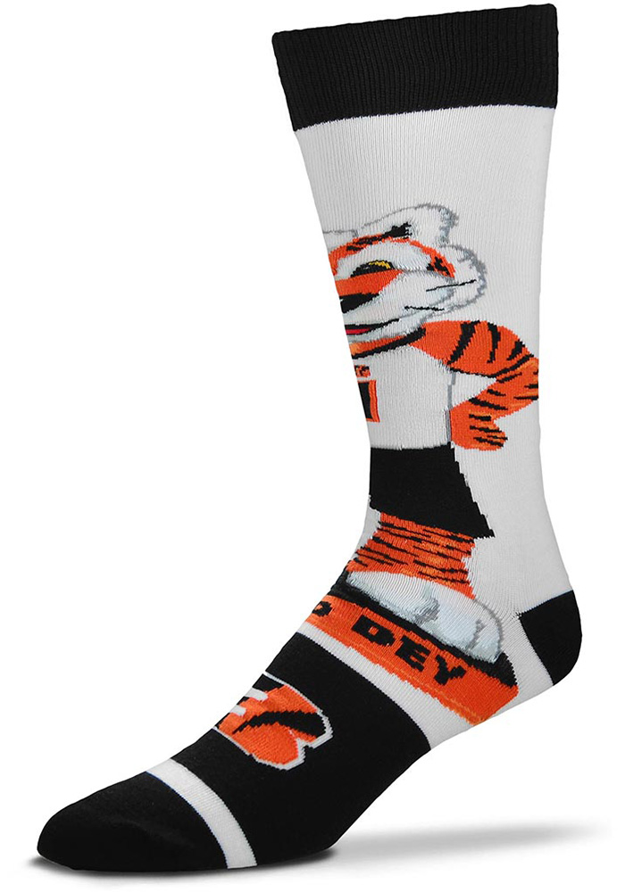 Cincinnati Bengals Mascot Bobblehead Mens Dress Socks - Image 1