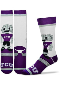 TCU Horned Frogs Mascot Bobblehead Dress Socks - Purple