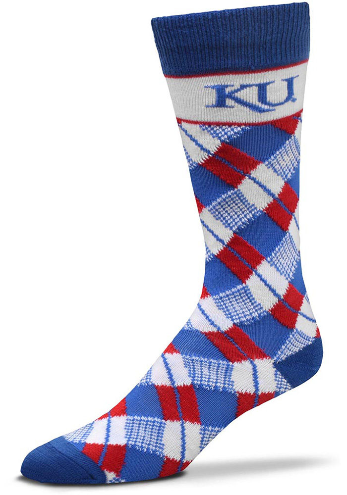 Kansas Jayhawks Plaid Argyle Socks - Blue