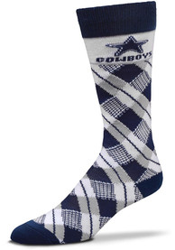 Dallas Cowboys Plaid Argyle Socks - Navy Blue