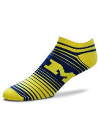 Michigan Wolverines Womens In and Out Stripes No Show Socks - Blue