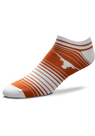 Texas Longhorns Womens In and Out Stripes No Show Socks - Burnt Orange