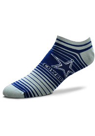 Dallas Cowboys Womens In and Out Stripes No Show Socks - Grey