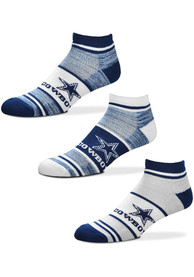 Dallas Cowboys Triplex Heathered 3pk No Show Socks - Blue