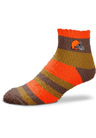 Cleveland Browns Womens Rainbow Quarter Socks - Brown