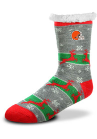 Cleveland Browns Womens Sherpa Crew Socks - Red