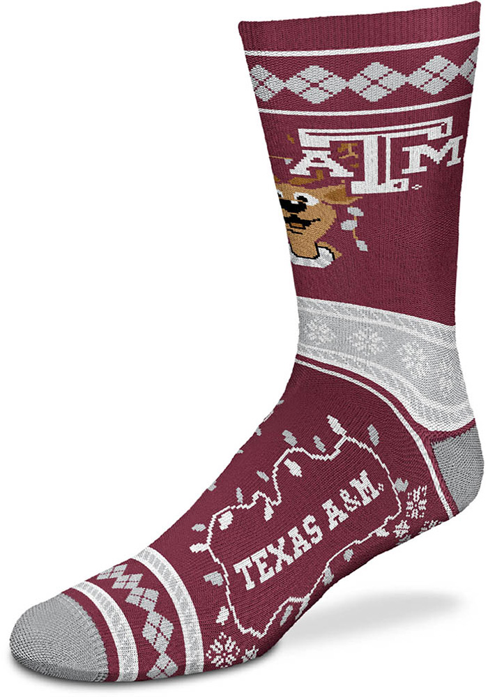 Texas A&M Aggies 2019 Ugly Sweater Crew Socks - Red
