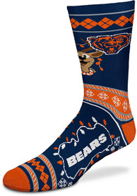 Chicago Bears 2019 Ugly Sweater Crew Socks - Navy Blue