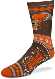 Cleveland Browns 2019 Ugly Sweater Crew Socks - Brown
