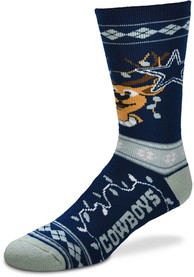 Dallas Cowboys 2019 Ugly Sweater Crew Socks - Navy Blue
