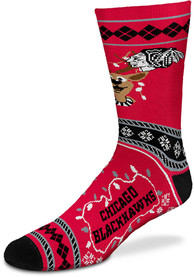 Chicago Blackhawks 2019 Ugly Sweater Crew Socks - Red