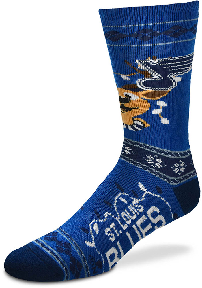 St Louis Blues 2019 Ugly Sweater Mens Crew Socks - Image 1