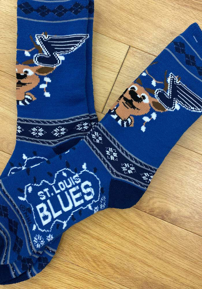St Louis Blues 2019 Ugly Sweater Mens Crew Socks - Image 2