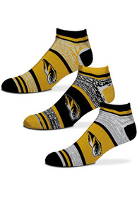 Missouri Tigers 3pk Triplex Heathered No Show Socks - Yellow