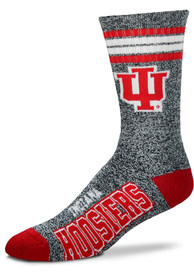 Indiana Hoosiers Mens Grey Marbled 4 Stripe Deuce Crew Socks