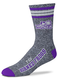 TCU Horned Frogs Marbled 4 Stripe Deuce Crew Socks - Grey