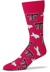 Texas Tech Red Raiders Mens Red States and Logos Dress Socks