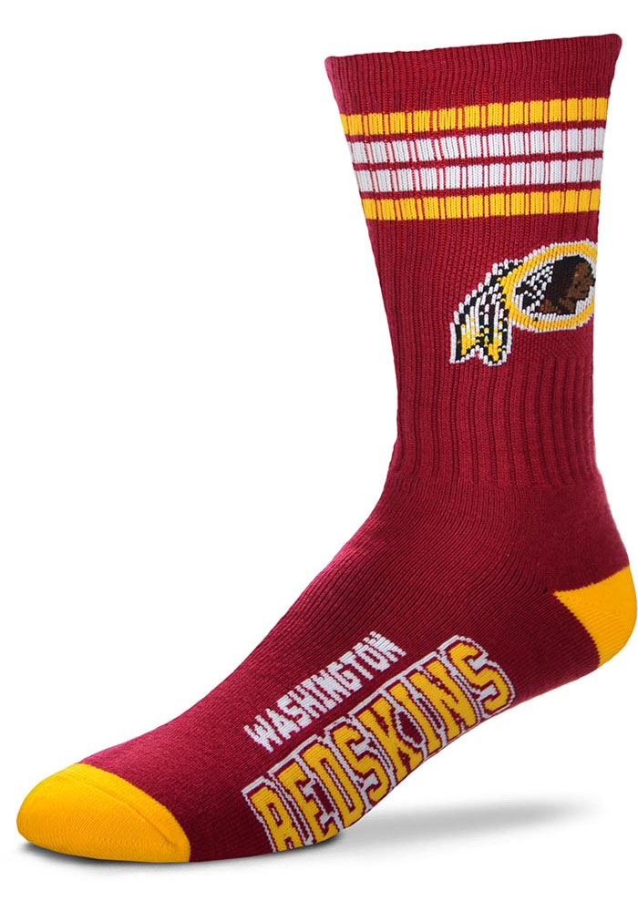 Washington Redskins 4 Stripe Deuce Mens Crew Socks - Image 1