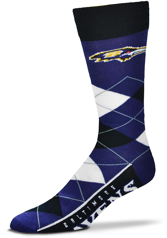 Baltimore Ravens Team Logo Argyle Socks - Purple