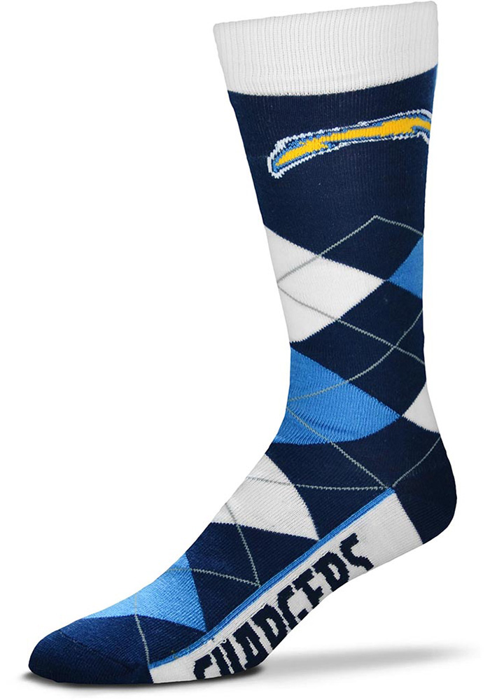 Los Angeles Chargers Team Logo Argyle Socks - Navy Blue