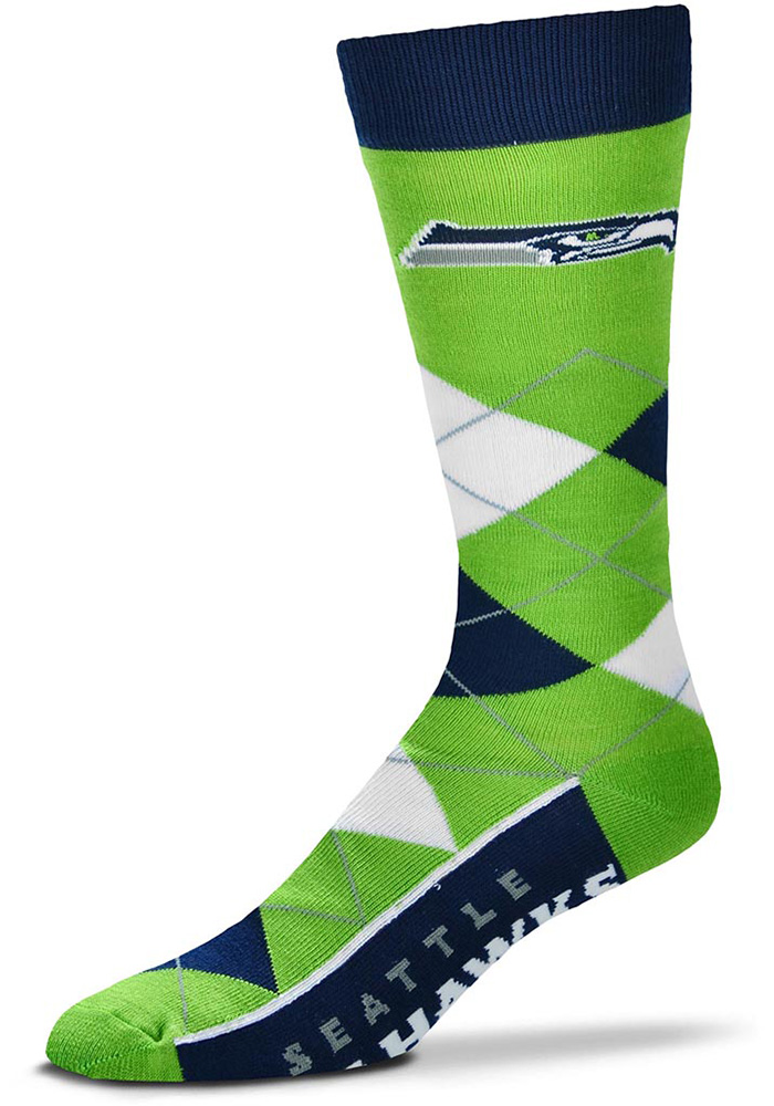 Seattle Seahawks Team Logo Argyle Socks - Green