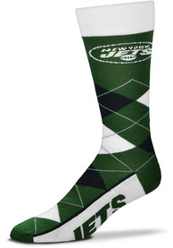 New York Jets Team Logo Argyle Socks - Green