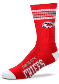 Kansas City Chiefs Youth 4 Stripe Deuce Crew Socks - Red