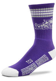 TCU Horned Frogs Youth 4 Stripe Deuce Crew Socks - Purple