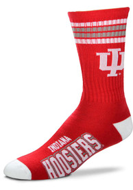 Indiana Hoosiers Youth 4 Stripe Deuce Crew Socks - Red