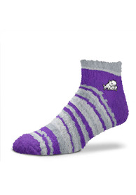 TCU Horned Frogs Womens Muchas Rayas Fuzzy Quarter Socks - Purple