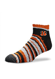 Cincinnati Bengals Womens Muchas Rayas Fuzzy Quarter Socks - Orange