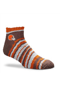 Cleveland Browns Womens Muchas Rayas Fuzzy Quarter Socks - Orange