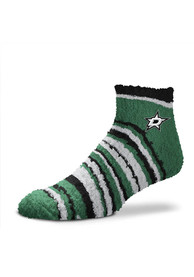 Dallas Stars Womens Muchas Rayas Fuzzy Quarter Socks - Green