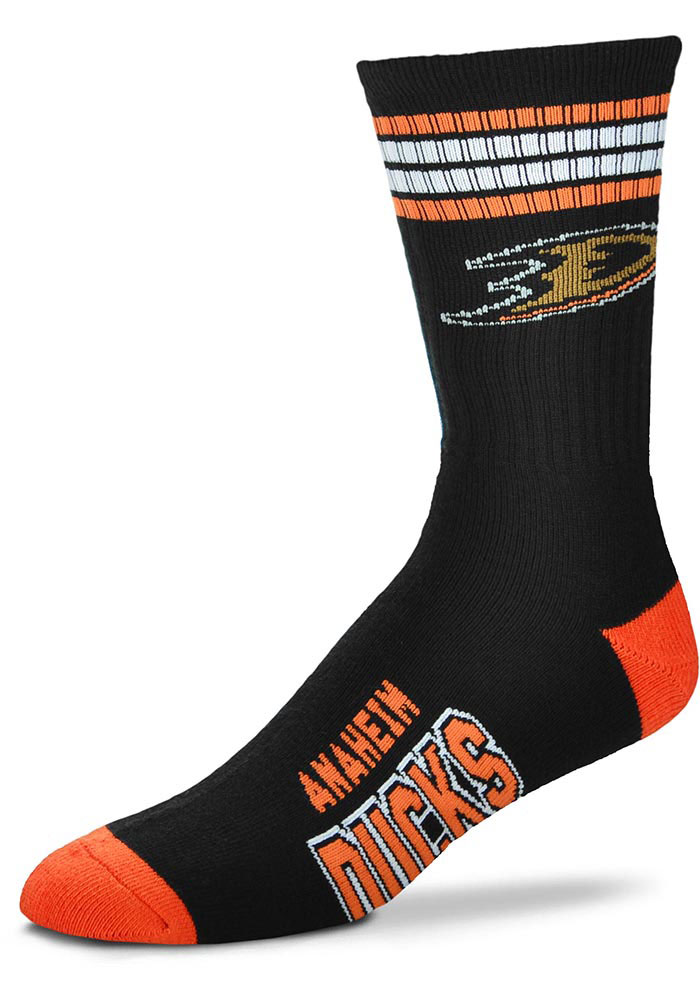 Anaheim Ducks 4 Stripe Deuce Crew Socks - Black