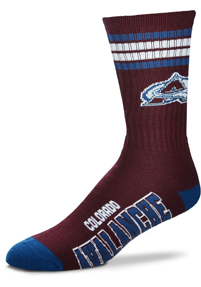 Colorado Avalanche 4 Stripe Deuce Crew Socks - Maroon
