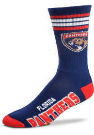 Florida Panthers 4 Stripe Deuce Crew Socks - Navy Blue