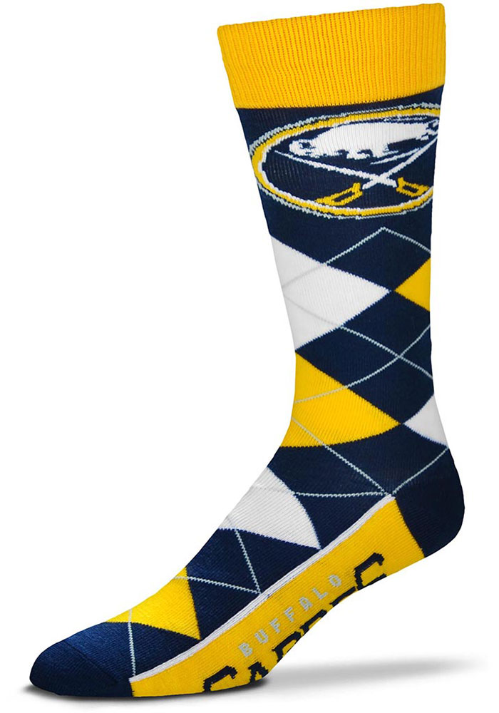 Buffalo Sabres Team Logo Argyle Socks - Navy Blue