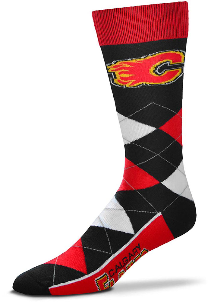 Calgary Flames Team Logo Argyle Socks - Red