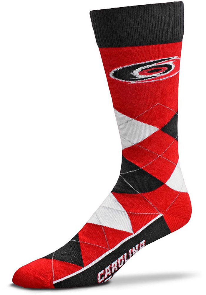 Carolina Hurricanes Team Logo Argyle Socks - Red