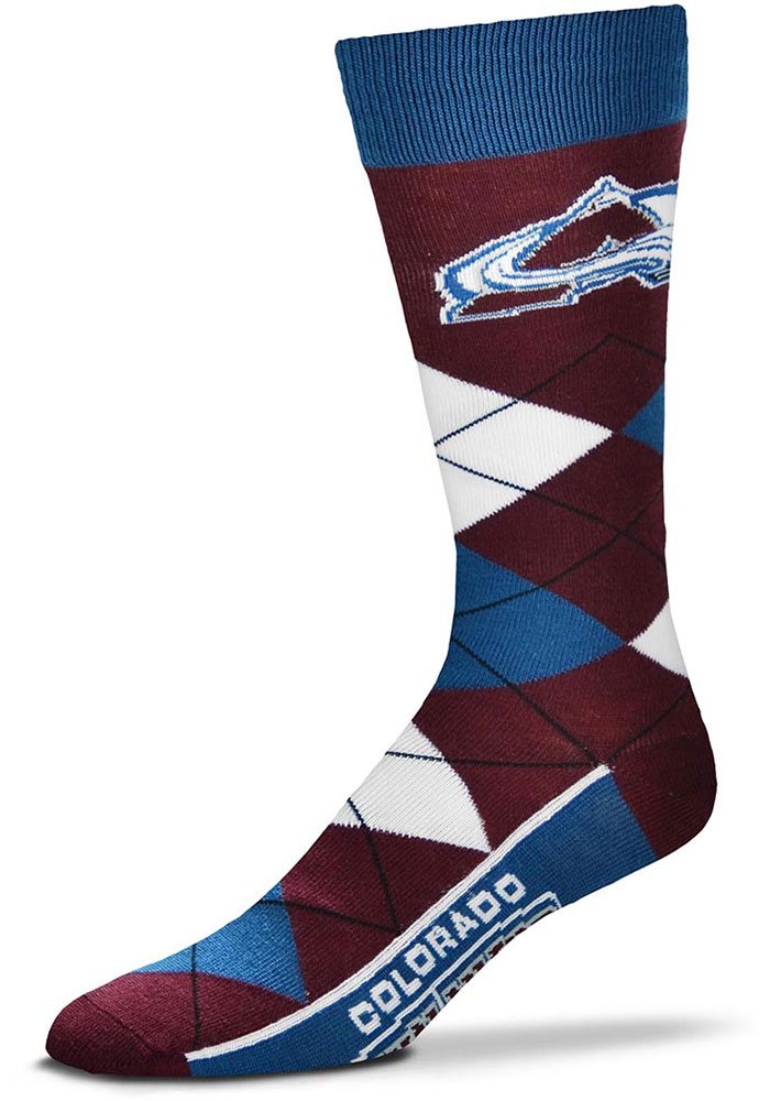 Colorado Avalanche Team Logo Argyle Socks - Maroon