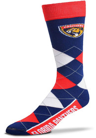 Florida Panthers Team Logo Argyle Socks - Navy Blue