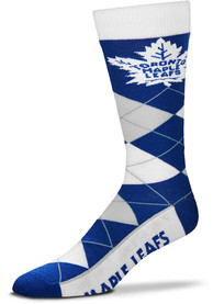 Toronto Maple Leafs Team Logo Argyle Socks - Blue