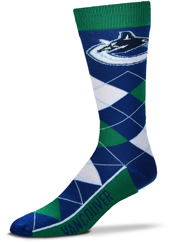 Vancouver Canucks Team Logo Argyle Socks - Navy Blue