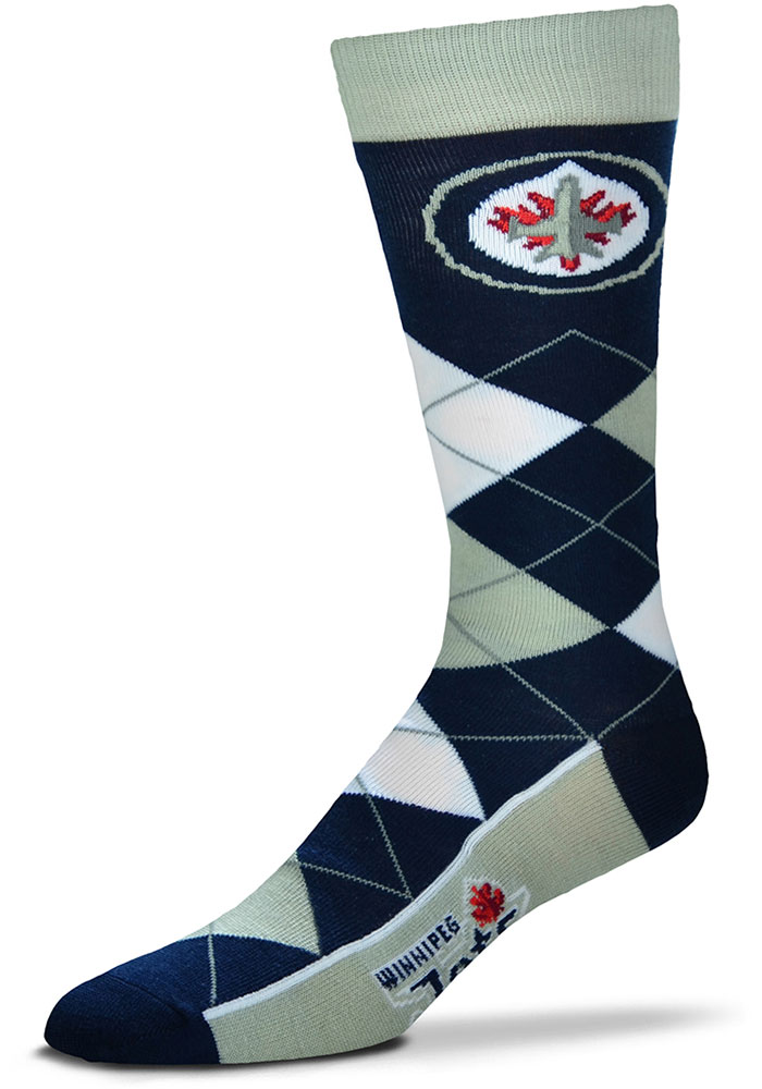 Winnipeg Jets Team Logo Mens Argyle Socks - Image 1