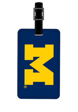 Michigan Wolverines Navy Blue Rubber Luggage Tag