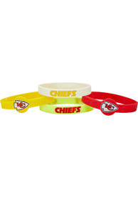 Kansas City Chiefs Kids 4pk Silicone Emblem Bracelet - Red